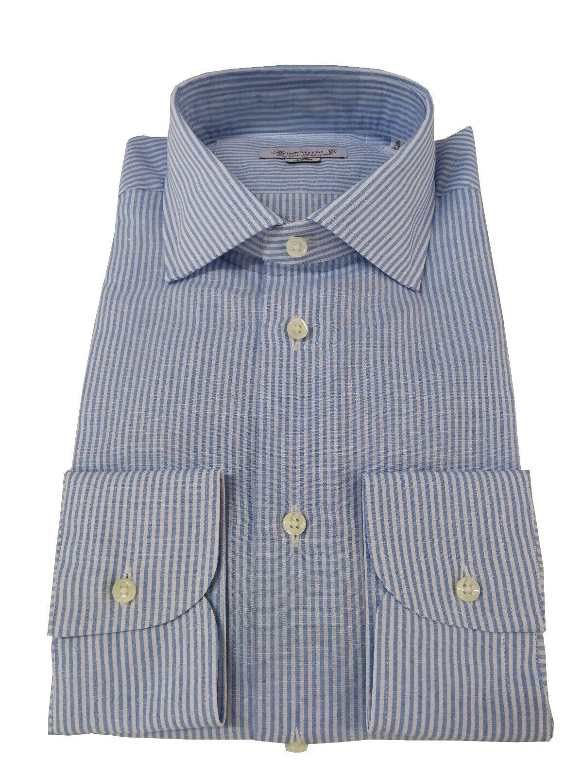 BRANCACCIO Herren Langarm-Shirt Tragbarkeit slim Streifen weiß himmlisch     | Smart