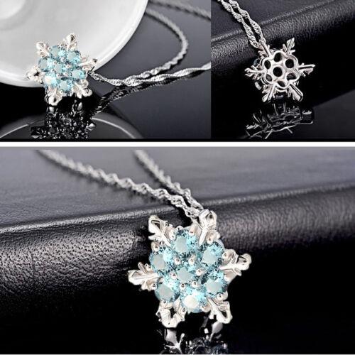 Charme dame Cristal Bleu Flocon De Neige Frozen Fleur Argent collier pendentif Hot