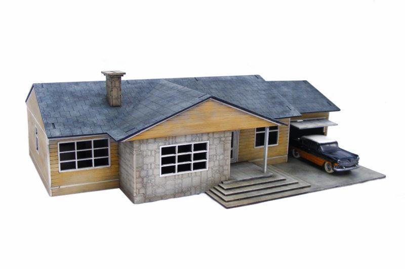 Retro Americana Residential Ranch Style – Garage RHS 28mm Laser Cut MDF Build...
