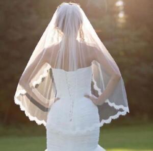 Wedding-Veil-White-Ivory-Soft-Tulle-Ladies-Bridal-Elbow-Veils-Lace-Applique-Edge
