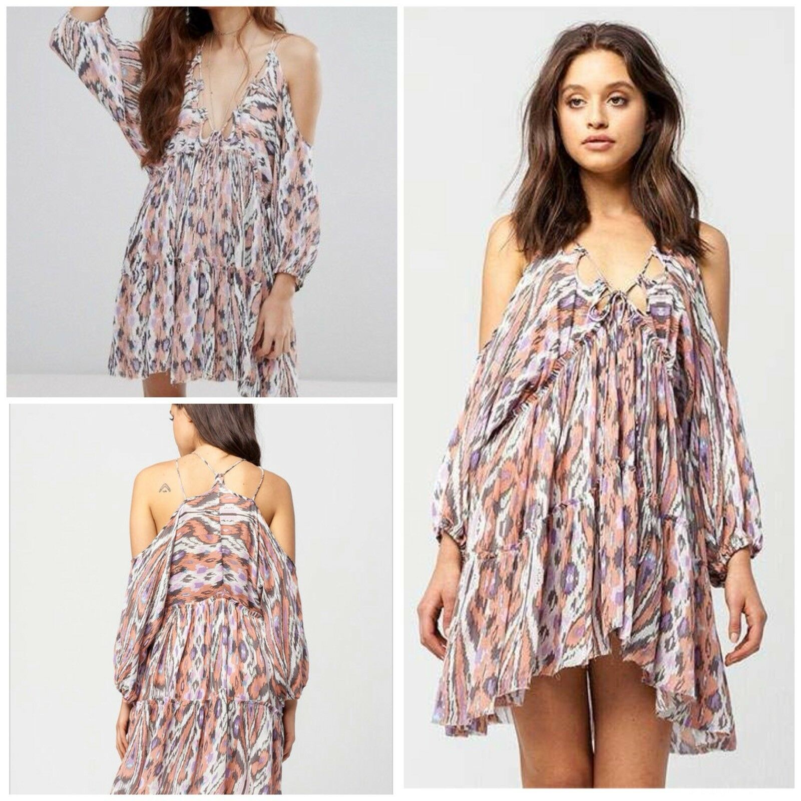 Free People Monarch Cold Shoulder Dress Pink Size Extra Small NWT