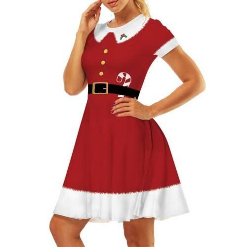 Damen Weihnachtskleid Partykleid Xmas Swing Skaterkleid Minikleid Cosplay Kostüm
