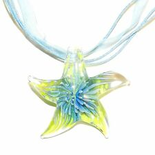 MN450c Yellow Starfish with Blue Flower Lampwork Glass Pendant Ribbon Necklace