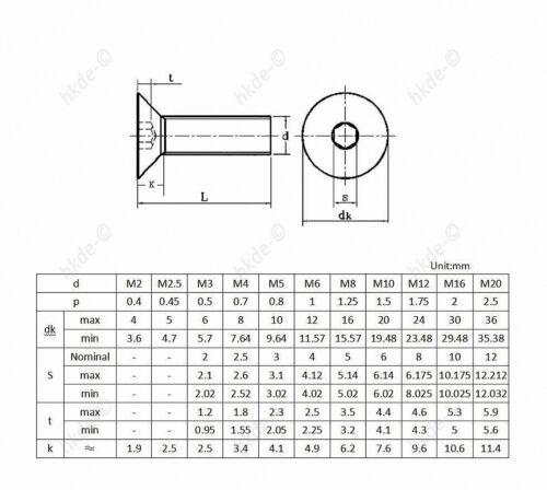 Senkkopfschrauben EDELSTAHL A2 Innensechskant Senkkopf DIN 7991 M6 M8 M10 M12