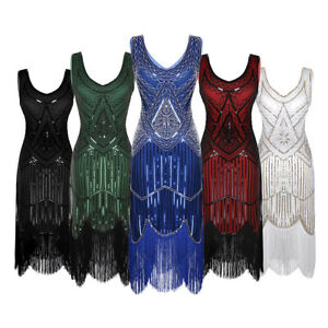 Women-Sequin-V-Neck-Bodycon-Beaded-Tassels-Clubwear-Dress-Evening-Cocktail-Party