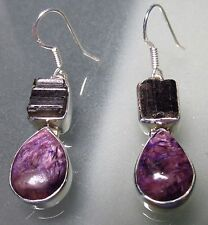 Sterling silver rough stone tourmaline, & purple charoite cabochon earrings.