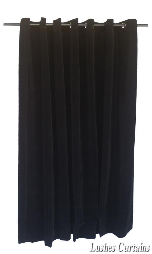 Black 72 inch H Velvet Curtain Panel w//Metal Grommet Top Eyelets Window Drapes