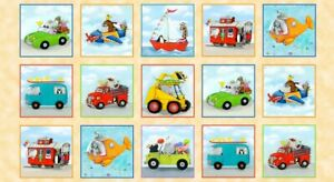 On-the-Go-Children-039-s-Panel-24-039-039-x-44-039-039-Cotton-Fabric-by-Elizabeth-039-s-Studio