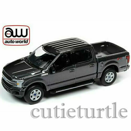 AutowWorld 2018 Ford F-150 Pick Up Truck 1:64 Diecast Gunmetal Black AWSP029 B