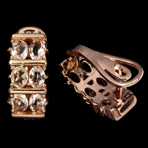 Details about  /Unheated Oval Morganite 4x3mm Cz Rose Gold Plate 925 Sterling Silver Earrings