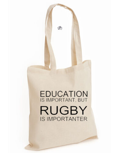RUGBY,BAG EDUCATION IS IMPORTANT BUT RUGBY IS IMPORTANTER FUNNY COTTON TOTE