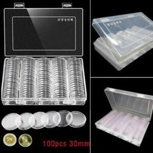 100x-30mm-Muenzkassette-Muenzenkoffer-Muenzkoffer-Muenzkapseln-Muenzenkapseln-P-CEK