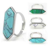 Fashion Women Rhombus Turquoise Geometric Mid Finger Rings Jewelry