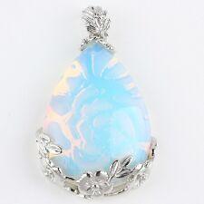Opal/Opalite Teardrop Crystal Gemstone Floral Flower Stone Pendant Charm Jewelry