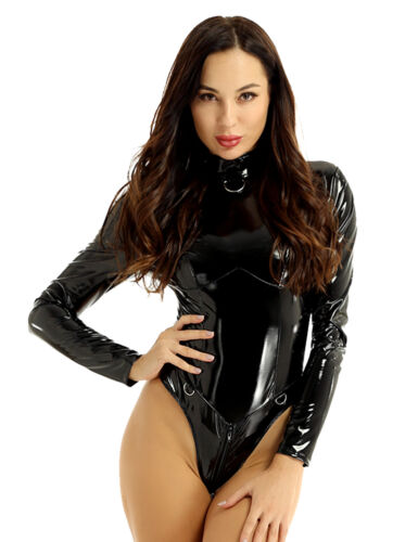 Women's Wet Look Faux Leather Bodysuit Jumpsuit Leotard Romper Catsuit Nightclub