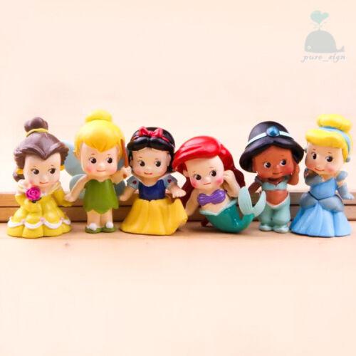 6 Pièces Princesse Disney Mini Poupées Résine Personnage Figurines Jouet