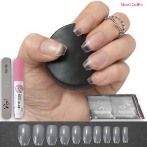 500-x-CLEAR-SHORT-COFFIN-Full-False-Nails-DIY-Nail-Art-Kit-STICK-ON-FREE-GLUE