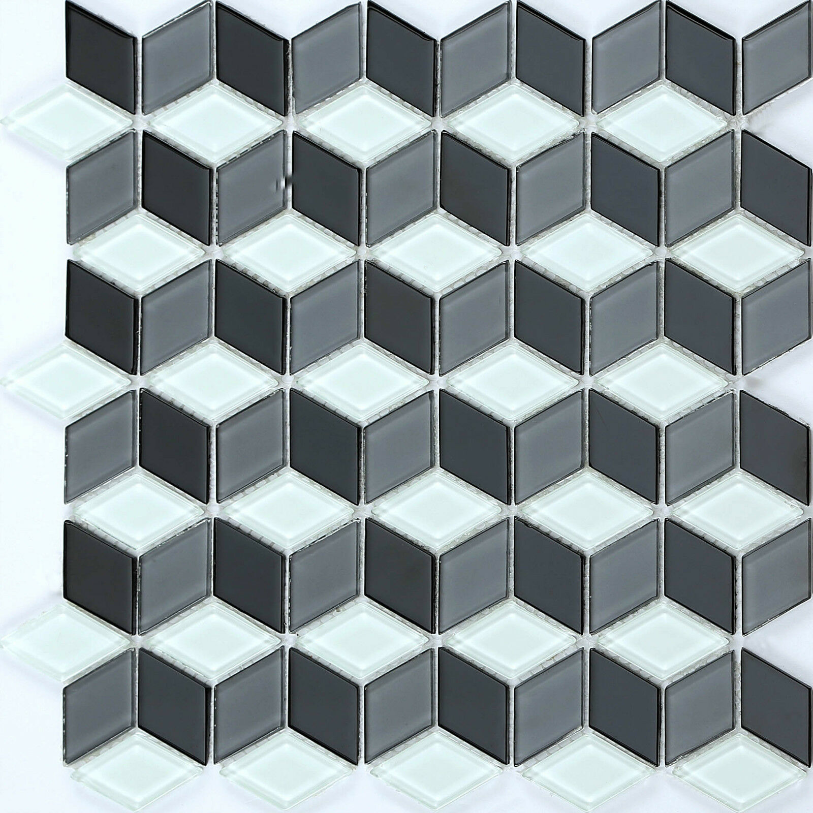 1qm Glas Mosaik Fliesen Matte in Schwarz und Weiß 3D Optik. MT0083 x 11 Matten