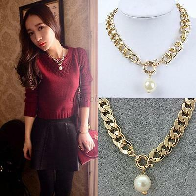 Luxury Pearl Jewelry Pendant Chunky Chain Crystal Pearl Statement Bib Necklace