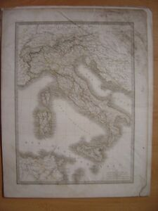 Très grande CARTE de l' ITALIE Dressée par Lapie en 1831 - France - Type: Gravure Thme: Carte géographique - France