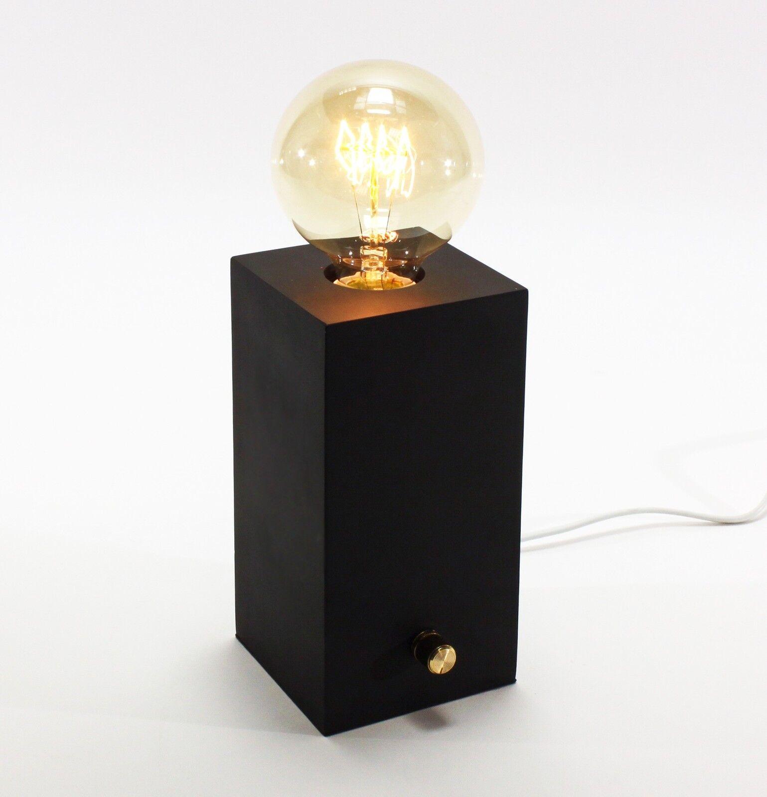 Geniale Tischleuchte Edison mit Dimmer Schwarz inkl Birne Tischlampe Lampe Neu