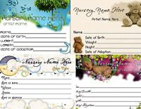 1 Custom Reborn Birth Certificate With Your Nursery Name & Artist Name You Print