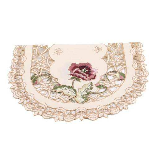 Embroidered Tablecloth Flower Coffee Table Cloth Doily Satin Cover Gift LE