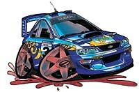 Subaru WRX WRC Impreza cartoon t-shirt world rally 555 2.5 rs boxer 22b mcrae