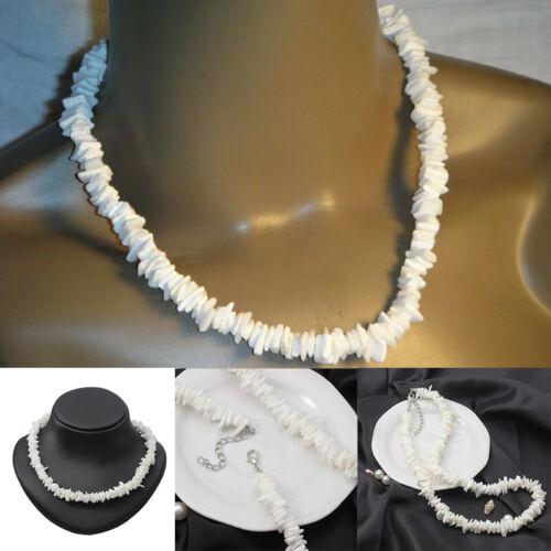 """White Hawaiian 18/"""" Chipped Puka Sea Shell Necklace Surfer Choker Shell Jewerly"""