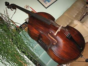 Kontrabass-Italien-Bass-Hervorragender-Klang-Antik-Sehr-Alt-Mensur-104cm