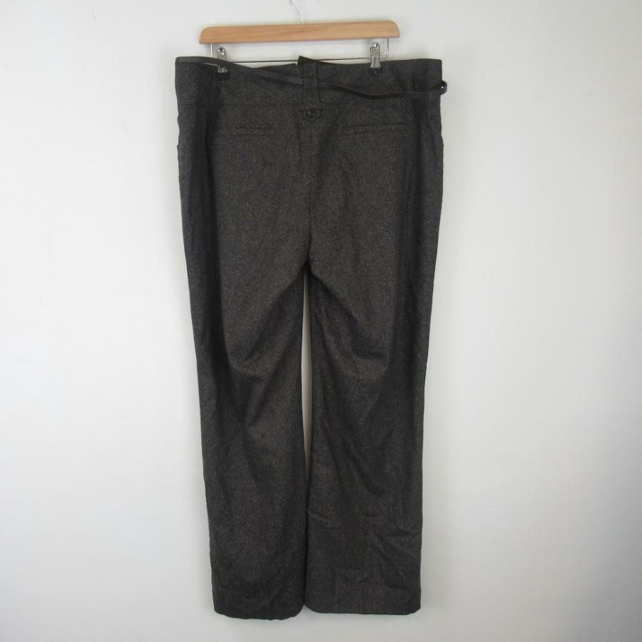 Monsoon Chocolate Brown Ladies Smart Wool Blend Trousers w  Belt Unworn -