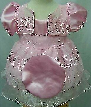 Brand NEW Girls Pink  Party//Wedding Dress With Hat Size 0-3 to 9-12 months