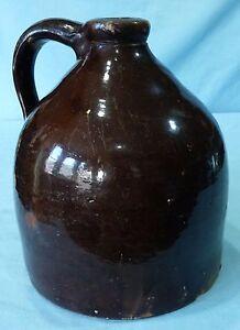 Stoneware-Jug-Antique-Albany-Slip-Glazed-Stoneware-Beehive-Jug-Primitive