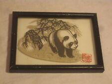 unique framed glass panda cut paper art wall decor Asian Oriental bamboo style