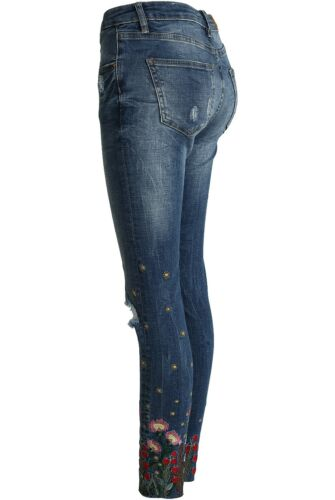 RRP£28.99 Embroidered Denim Jeans with Ripped Knees Various Sizes Limited Stock!