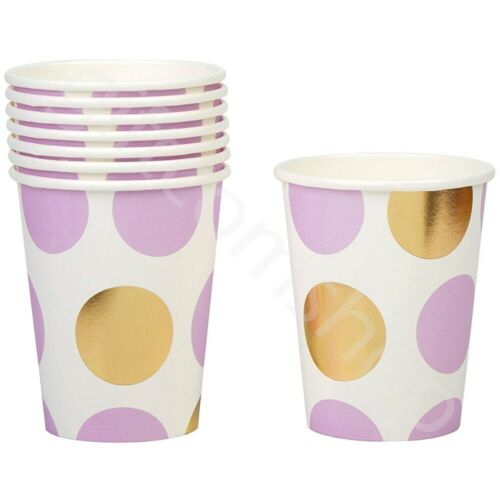 Pink Blue Lilac Paper Cups Birthday Baby Shower Party Tableware Catering Pk 8