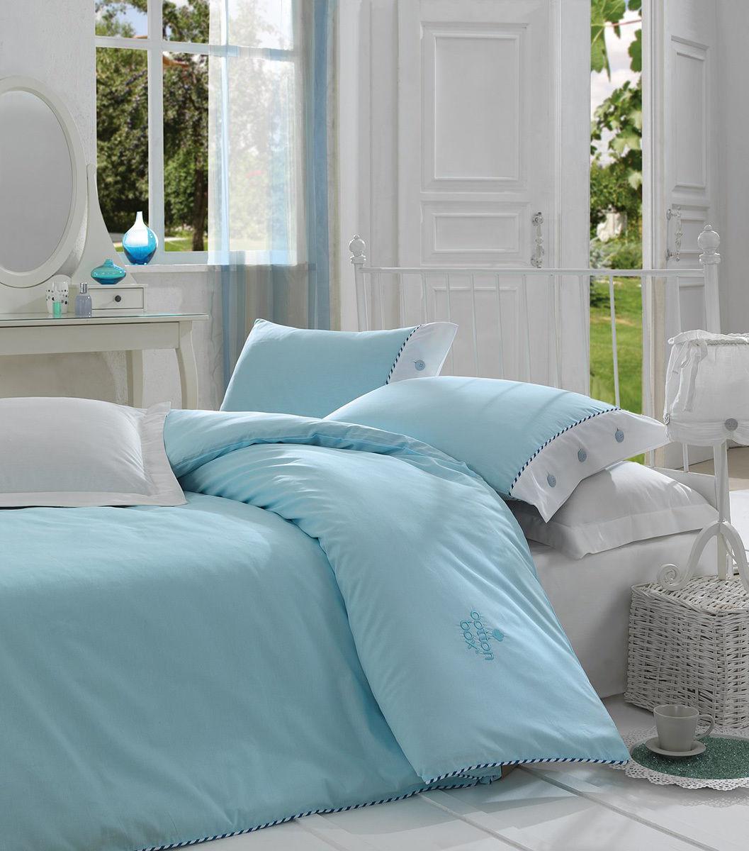 Blau Turquoise 100% Breathable Cotton Fabric Duvet Cover Bedding Set Reversible