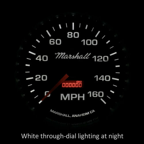 "2254 White Dial Marshall 5/"" In-Dash Electronic Speedometer Silver Bezel"