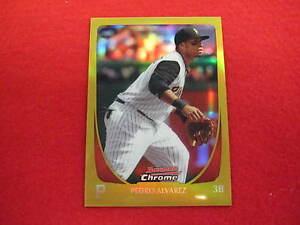 2011-Bowman-Chrome-Pedro-Alvarez-gold-refractor-baseball-card-Pirates-33-50