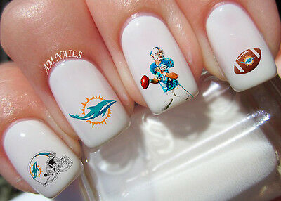 Miami Dolphins Nail Art Stickers Transfers Decals Set Of 43 Ebay