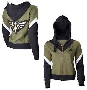 Nintendo-Legend-Of-Zelda-Triforce-Logo-Womens-Black-Green-Zip-Hoodie-Girls-Gift