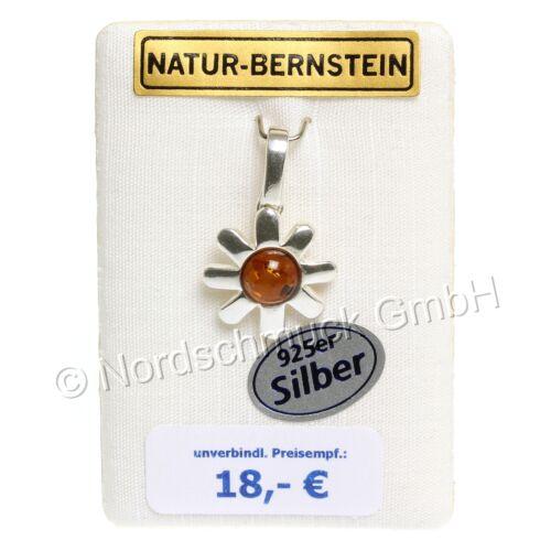 Blütenzauber Bernstein Anhänger Kette Ohrstecker Ohrringe Silber Themen-Welt
