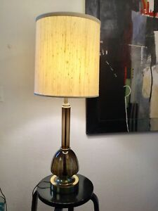 Hollywood regency table lamp with white lampshade