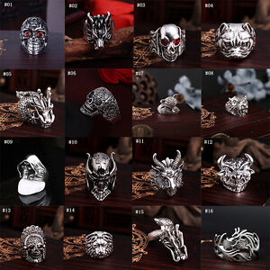 Fashion-Men-Stainless-Steel-Punk-Cool-Gothic-Rock-Biker-Silver-Skull-Finger-Ring
