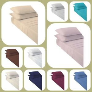 Soft-Flat-Sheet-Plain-Dyed-Poly-Cotton-Bed-Sheets-Single-Double-King-Super-King