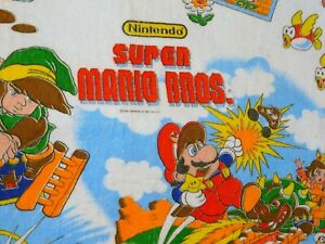 Vintage-Nintendo-1988-Super-Mario-Bros-Zelda-Print-Blanket-Spread-Acrylic-Twin