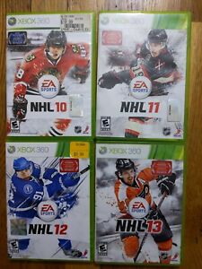 USED EA Sports NHL 10 + 11 + 12 + 13 - Xbox 360 Bundle Lot of 4 - Free Shipping