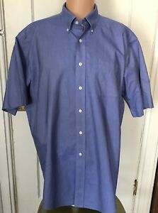 L-L-Bean-Shirt-Mens-Size-17-5-Blue-17-1-2-Short-Sleeve-Oxford-Cotton