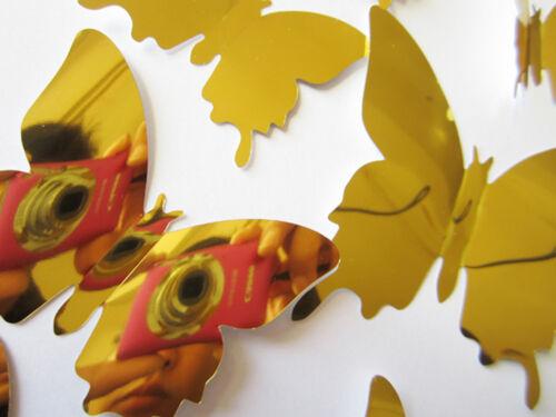3D Schmetterlinge 12 Set Spiegel Dekoration Wandtattoo Wandsticker Wanddeko