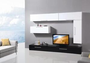Mobile soggiorno parete attrezzata mdf bianco e nero moderna laccata tv4 ebay - Parete attrezzata moderna con camino ...